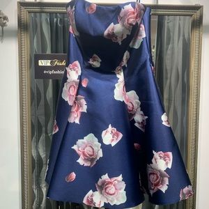 Cute Floral navy strapless dress terani couture